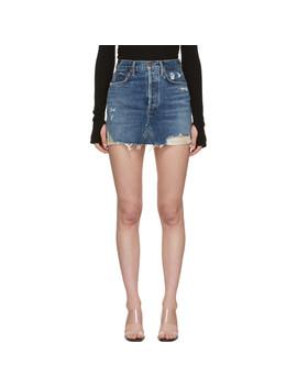 Blue Quinn Hi Rise Miniskirt by Agolde