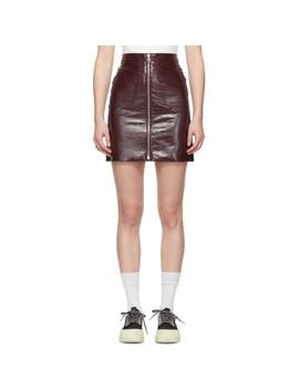 Burgundy Patent Zip Miniskirt by Mcq Alexander Mcqueen