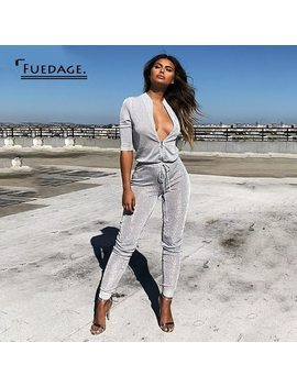 Fuedage Glitter Jumpsuits For Women 2018 Solid Silver Bodycon Zipper Lace Up Playsuit Half Sleeve Rompers Women Jumpsuit Overall by Fuedage
