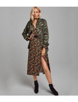 Black Ditsy Floral Midi Wrap Dress by New Look