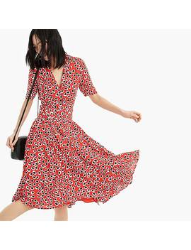 Petite A Line Midi Shirtdress In Heart Print With Removable Belt by J.Crew