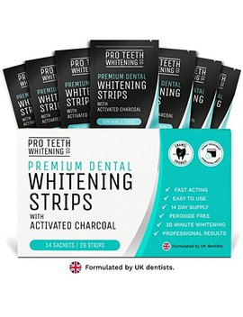 Teeth Whitening Strips With Activated Charcoal | 28 Peroxide Free Teeth Whitening Strips (14 Upper + 14 Lower) | Fast Acting Teeth Whitening Kit Formulated By Uk Dentists For Pro Teeth Whitening Co. ® by Pro Teeth Whitening Co