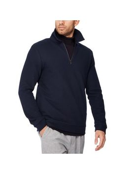 J By Jasper Conran   Navy Herringbone Zip Neck Sweater by J By Jasper Conran