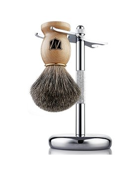 Miusco Badger Hair Shaving Brush And Shaving Stand Set, Chrome Stand, Wooden Brush by Miusco