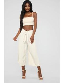 Bahama Mama Tie Waist Linen Pants   Khaki by Fashion Nova
