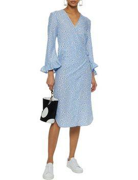 Beacon Floral Print Cotton And Silk Blend Poplin Wrap Dress by Ganni