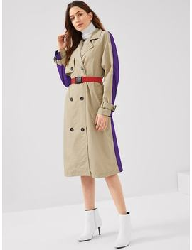 Two Tone Trench Coat With Push Buckle Belt by Shein