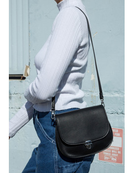 Silver Buckle Faux Leather Purse by Brandy Melville