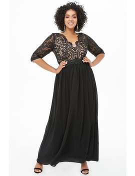 Plus Size Embroidered Floral Lace Gown by Forever 21