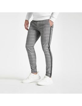 Grey Check Tape Skinny Pants by River Island