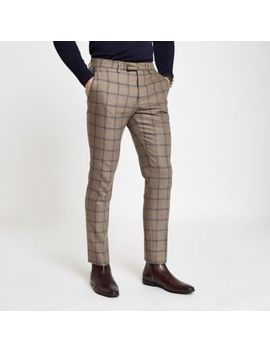 Ecru Check Skinny Suit Pants                      Ecru Check Skinny Fit Suit Jacket                  Ecru Check Slim Fit Suit Vest by River Island