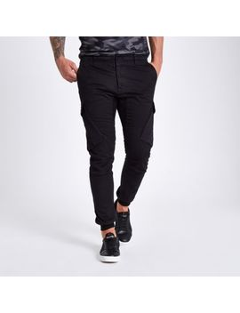 Black Tapered Cargo Pants by River Island