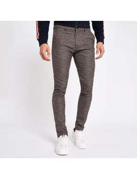 Brown Houndstooth Jersey Skinny Fit Pants by River Island