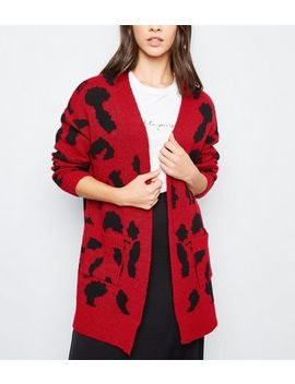 Red Leopard Print Oversized Cardigan by New Look
