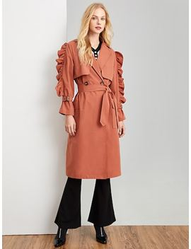 Ruffle Detail Pocket Notched Neck Coat by Shein