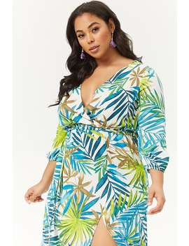 Plus Size Palm Leaf Print Maxi Dress by Forever 21