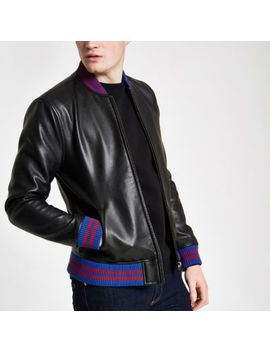 Black Tipped Bomber Jacket by River Island