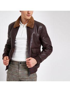 Burgundy Fleece Collar Jacket by River Island