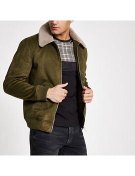 Khaki Faux Suede Fleece Collar Jacket by River Island