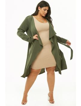 Plus Size Longline Drape Front Cardigan by Forever 21
