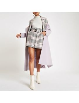 Pink Check Paperbag Mini Skirt                                    Pink Check Open Front Blazer by River Island
