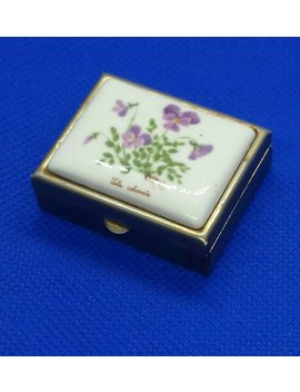 Vintage Pansies Violets Floral Metal And Enamel Pill Box Collectible Trinket by Etsy