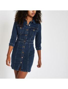 Dark Blue Denim Fitted Shirt Dress by River Island