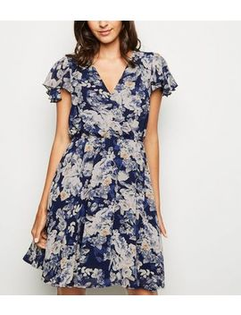 Mela Navy Floral Wrap Dress by New Look