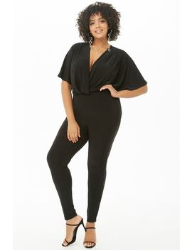 Plus Size Plunging Tapered Jumpsuit by Forever 21