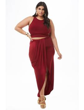 Plus Size Drapey High Low Skirt by Forever 21