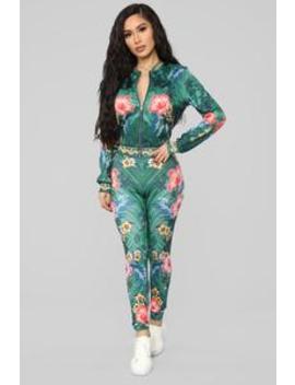 Anegada Tropical Pant Set   Green/Combo by Fashion Nova