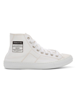 White Canvas 'stereotype' High Top Sneakers by Maison Margiela