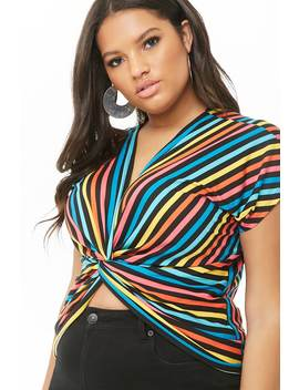 Plus Size Multicolor Striped Twist Front Top by Forever 21