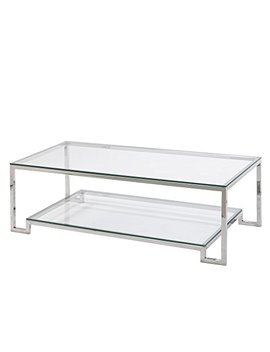 Uptown Club Jackson Collection Steel & Glass Large Coffee Table With Lower Shelf by Uptown Club