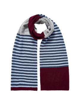 Brora Colour Block Stripe Cashmere Scarf, Port by Brora