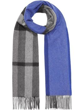 Colour Block Check Cashmere Scarf by Burberry