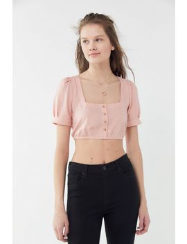 Uo Button Front Cropped Top by Urban Outfitters