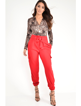 Red Paper Bag Cargo Pocket Trousers   Brette by Rebellious Fashion
