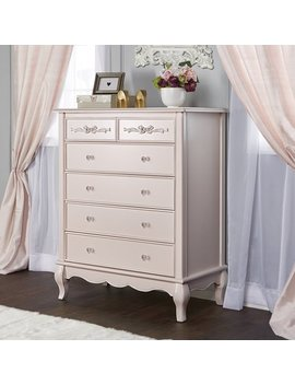 Evolur Aurora 5 Drawer Tall Chest, Blush Pink Pearl by Evolur