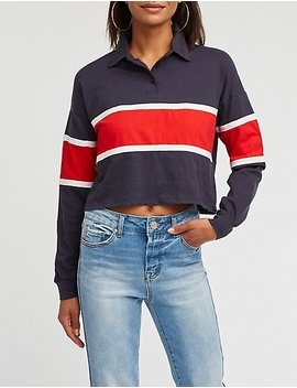 Colorblock Crop Polo by Charlotte Russe