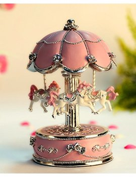 Honey Gifts Laxury Carousel Music Box,Flower Design,Pink by Honey Gifts