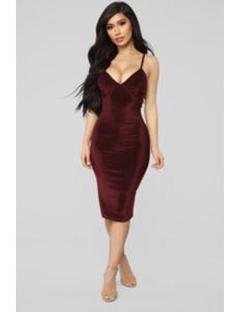 How She Feel Ribbed Velvet Dress   Burgundy by Fashion Nova