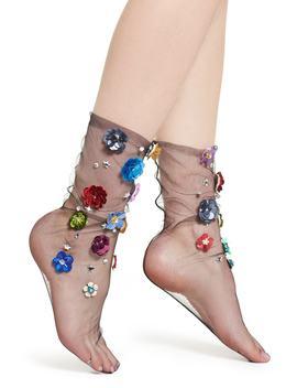 Flower Tulle Crew Socks by Lirika Matoshi