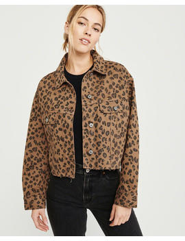 Cropped Leopard Print Girlfriend Denim Jacket by Abercrombie & Fitch