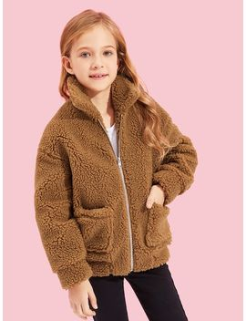 Girls Zip Up Faux Fur Pocket Front Teddy Jacket by Shein