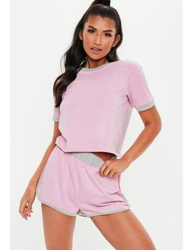 Pink Contrast Binding Racer Shorts Pajamas Set by Missguided