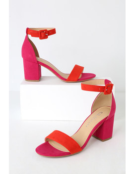 Jody Orange And Hot Pink Suede Ankle Strap Heels by Cl By Laundry