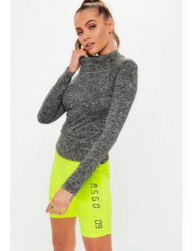active-light-gray-high-neck-long-sleeve-top by missguided