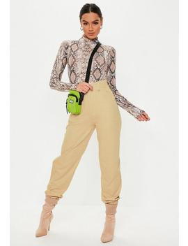 Sand Slim Leg Jogger Pants by Missguided