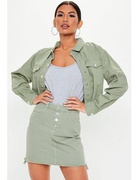 Green Contrast Stitch Cropped Denim Shacket by Missguided